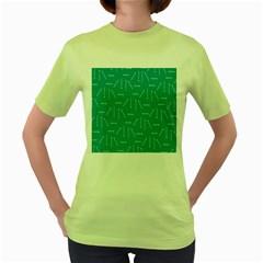 Digital Art Minimalism Abstract Candles Blue Background Fire Women s Green T Shirt