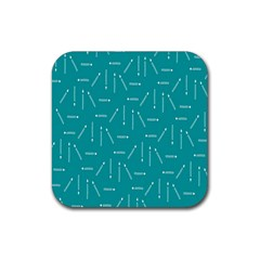 Digital Art Minimalism Abstract Candles Blue Background Fire Rubber Coaster (square)