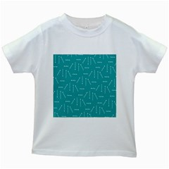Digital Art Minimalism Abstract Candles Blue Background Fire Kids White T-Shirts