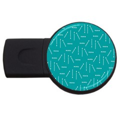 Digital Art Minimalism Abstract Candles Blue Background Fire USB Flash Drive Round (1 GB)