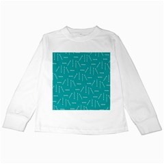 Digital Art Minimalism Abstract Candles Blue Background Fire Kids Long Sleeve T-Shirts