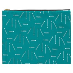 Digital Art Minimalism Abstract Candles Blue Background Fire Cosmetic Bag (XXXL)