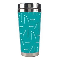 Digital Art Minimalism Abstract Candles Blue Background Fire Stainless Steel Travel Tumblers