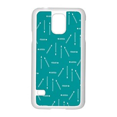 Digital Art Minimalism Abstract Candles Blue Background Fire Samsung Galaxy S5 Case (White)