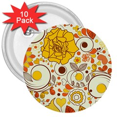 Cute Fall Flower Rose Leaf Star Sunflower Orange 3  Buttons (10 Pack)