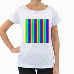 Rainbow Gradient Women s Loose Fit T Shirt (white)