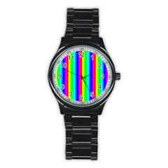 Rainbow Gradient Stainless Steel Round Watch