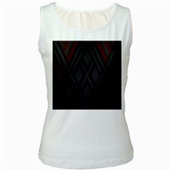 Abstract Dark Simple Red Women s White Tank Top