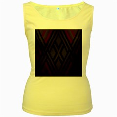 Abstract Dark Simple Red Women s Yellow Tank Top