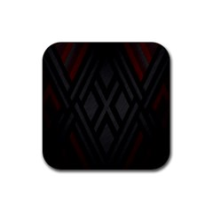 Abstract Dark Simple Red Rubber Square Coaster (4 pack)