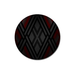 Abstract Dark Simple Red Magnet 3  (Round)
