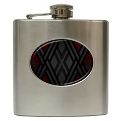 Abstract Dark Simple Red Hip Flask (6 oz)