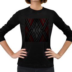 Abstract Dark Simple Red Women s Long Sleeve Dark T-Shirts