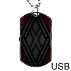 Abstract Dark Simple Red Dog Tag USB Flash (Two Sides)
