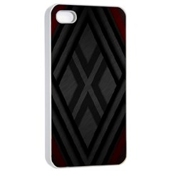 Abstract Dark Simple Red Apple iPhone 4/4s Seamless Case (White)