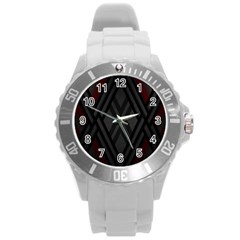 Abstract Dark Simple Red Round Plastic Sport Watch (L)