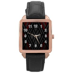 Abstract Dark Simple Red Rose Gold Leather Watch