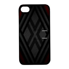 Abstract Dark Simple Red Apple Iphone 4/4s Hardshell Case With Stand