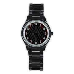 Abstract Dark Simple Red Stainless Steel Round Watch