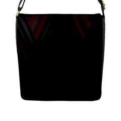 Abstract Dark Simple Red Flap Messenger Bag (L)