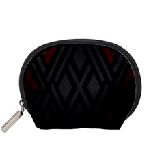 Abstract Dark Simple Red Accessory Pouches (Small)