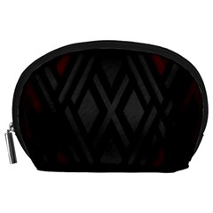 Abstract Dark Simple Red Accessory Pouches (Large)