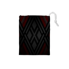 Abstract Dark Simple Red Drawstring Pouches (Small)