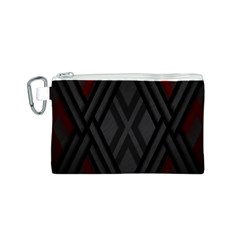 Abstract Dark Simple Red Canvas Cosmetic Bag (S)