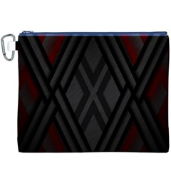 Abstract Dark Simple Red Canvas Cosmetic Bag (xxxl)