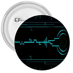Blue Aqua Digital Art Circuitry Gray Black Artwork Abstract Geometry 3  Buttons