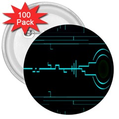 Blue Aqua Digital Art Circuitry Gray Black Artwork Abstract Geometry 3  Buttons (100 Pack)