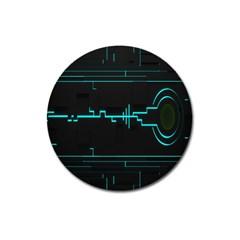 Blue Aqua Digital Art Circuitry Gray Black Artwork Abstract Geometry Magnet 3  (round)