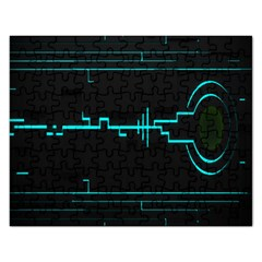 Blue Aqua Digital Art Circuitry Gray Black Artwork Abstract Geometry Rectangular Jigsaw Puzzl
