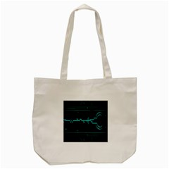 Blue Aqua Digital Art Circuitry Gray Black Artwork Abstract Geometry Tote Bag (Cream)