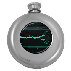 Blue Aqua Digital Art Circuitry Gray Black Artwork Abstract Geometry Round Hip Flask (5 Oz)