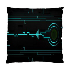 Blue Aqua Digital Art Circuitry Gray Black Artwork Abstract Geometry Standard Cushion Case (two Sides)