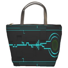 Blue Aqua Digital Art Circuitry Gray Black Artwork Abstract Geometry Bucket Bags
