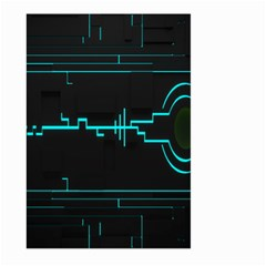 Blue Aqua Digital Art Circuitry Gray Black Artwork Abstract Geometry Large Garden Flag (Two Sides)