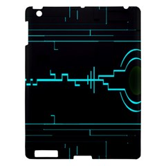 Blue Aqua Digital Art Circuitry Gray Black Artwork Abstract Geometry Apple iPad 3/4 Hardshell Case