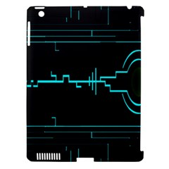 Blue Aqua Digital Art Circuitry Gray Black Artwork Abstract Geometry Apple iPad 3/4 Hardshell Case (Compatible with Smart Cover)