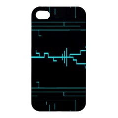 Blue Aqua Digital Art Circuitry Gray Black Artwork Abstract Geometry Apple iPhone 4/4S Premium Hardshell Case