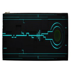 Blue Aqua Digital Art Circuitry Gray Black Artwork Abstract Geometry Cosmetic Bag (XXL)