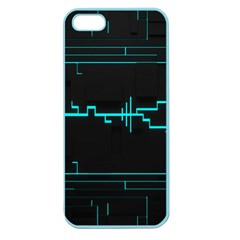 Blue Aqua Digital Art Circuitry Gray Black Artwork Abstract Geometry Apple Seamless iPhone 5 Case (Color)