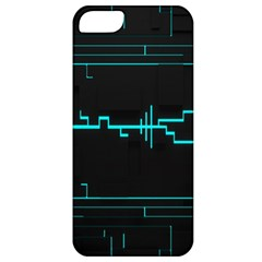 Blue Aqua Digital Art Circuitry Gray Black Artwork Abstract Geometry Apple iPhone 5 Classic Hardshell Case
