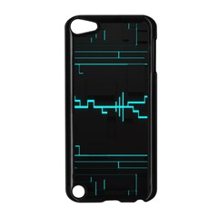 Blue Aqua Digital Art Circuitry Gray Black Artwork Abstract Geometry Apple iPod Touch 5 Case (Black)