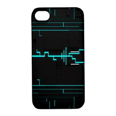 Blue Aqua Digital Art Circuitry Gray Black Artwork Abstract Geometry Apple iPhone 4/4S Hardshell Case with Stand