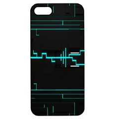 Blue Aqua Digital Art Circuitry Gray Black Artwork Abstract Geometry Apple iPhone 5 Hardshell Case with Stand