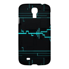 Blue Aqua Digital Art Circuitry Gray Black Artwork Abstract Geometry Samsung Galaxy S4 I9500/I9505 Hardshell Case