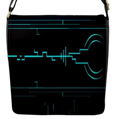 Blue Aqua Digital Art Circuitry Gray Black Artwork Abstract Geometry Flap Messenger Bag (S)