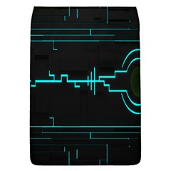 Blue Aqua Digital Art Circuitry Gray Black Artwork Abstract Geometry Flap Covers (S)